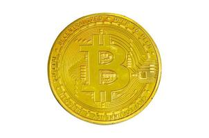 bitcoin isolerad på vit bakgrund. klippvägar foto