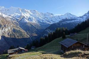 vacker utsikt över de schweiziska alperna foto