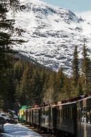 scenisk järnväg på vitt pass och yukon-rutt i Skagway Alaska foto