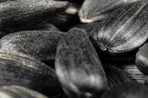 svarta solrosfrön i makro foto