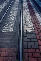 spårvägsspår i staden foto