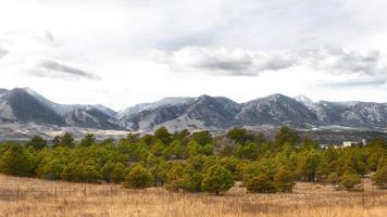 landskap med berg och träd foto