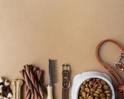husdjurstillbehör med matskål och godis foto