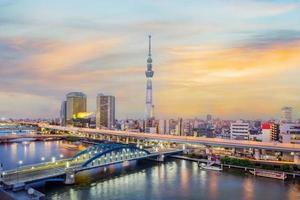 stadsbilden i Tokyo skyline foto