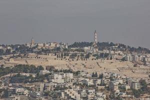 utsikt över olivberget över den gamla staden Jerusalem i Israel foto