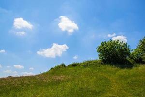 grön äng med vita moln foto