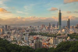 panoramautsikt över Taipei stad i Taiwan i skymningen foto