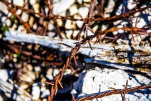 närbild av världskriget taggtråd foto