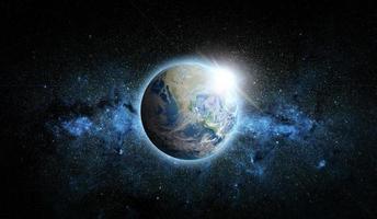 planetjord med soluppgång på rymdbakgrund, inslag av denna bild från nasa foto