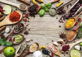 ett urval av olika färgglada kryddor på ett träbord i skedar foto