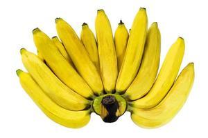 närbild en kam av mogna gula bananer isolerad på vit bakgrund foto