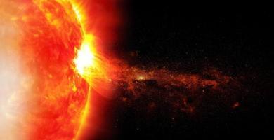 sol på rymdbakgrund, inslag av denna bild från nasa foto