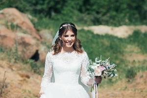 rustik stil känslor av bruden i naturen foto