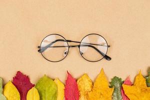 platt låg foto med glasögon och torra lönnlöv
