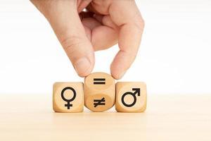 jämställdhetsbegreppshand vänder ett träblock och ändrar ett ojämnt tecken till ett likhetstecken mellan män och kvinnor foto