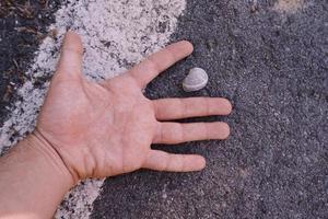 handen gester på marken foto