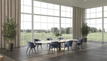 lyxig matsal med solljus och natur panorama panorama bakgrund 3d framför illustration beige inredning foto
