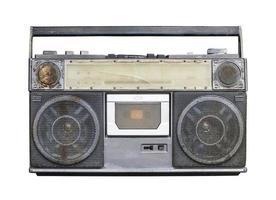 gammal stereo isolerad på vit bakgrund foto