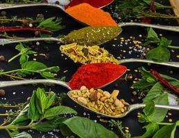 färgglada olika örter och kryddor för matlagning på mörk bakgrund foto