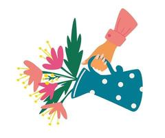 vattenkanna med bukett hand som håller en vattenkanna med blommor glad mors dag hälsning vykort vektorillustration för hälsning och inbjudningskort affisch banner flygblad foto