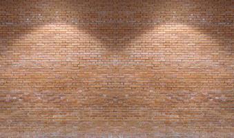 brun bakgrund för tegelväggmönster med downlight foto