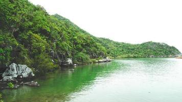 vacker stenig havsstrand kust med grönt träd foto
