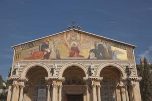 kyrka av alla nationer i trädgården gethsemane på Olivberget, Jerusalem, Israel foto