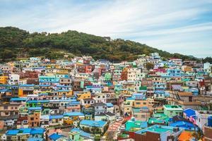 berömd attraktion gamcheon kulturby på Busan i Sydkorea foto
