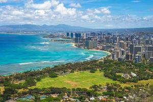 Flygfoto över Honolulu på Oahu, Hawaii, oss foto
