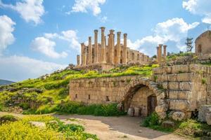 Zeus tempel i Jerash, Amman, Jordanien foto