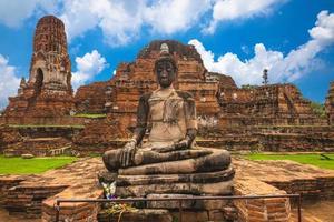prang och buddha staty på wat mahathat i ayutthaya, thailand foto