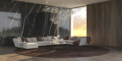 modern lyxig interiörbakgrund med panoramafönster och illustration för rendering av solnedgångsvy 3d foto