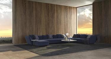 modern lyxig inre bakgrund med panoramafönster och solnedgångsvy och trävägg håna upp ljus design vardagsrum 3d framför illustration foto