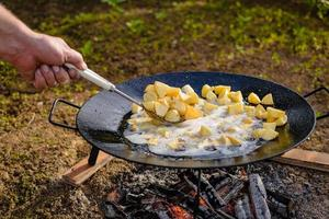 potatis på plogskiva. potatis på skivgrill. foto