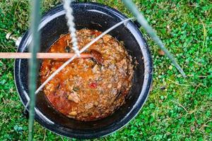 matlagning nötkött gulasch soppa i en gryta foto