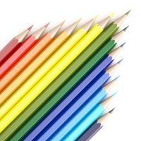 Tolkning 3d av färgblyertspennor på vit bakgrund foto