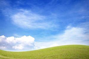 fält för grönt gräs och blå himmel med vita moln foto