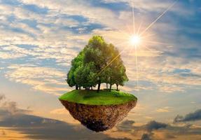 flytande öar med träd på himlen världsmiljö dag världskonserveringsdag miljö foto