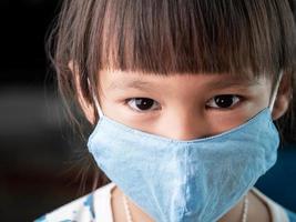 asiatisk barnflicka som bär ansiktsmask för att skydda henne från coronavirusinfektion, sjukdom och pm2.5 luftföroreningar. nytt normalt beteende. foto