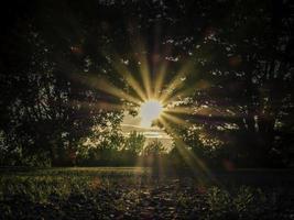 solen med ljusa strålar. foto
