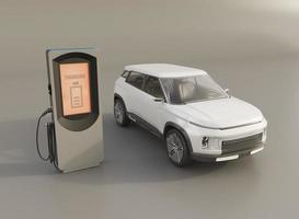 Elektrisk bil 3d och laddningsstation foto
