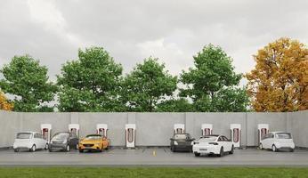 elbilar på parkeringsplats laddning foto