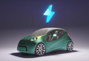 Elektrisk bil 3d med laddat batteri foto