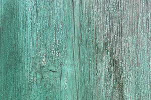 vägg av träplankor i blå färg med sprickor. bakgrund för design foto