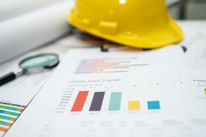 graf med konstruktionshjälm för arbetsprojekt på kontoret. foto