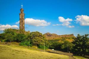 Nelson monument i Edinburgh, Skottland, Storbritannien foto