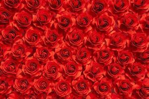 pappersblomma, röda rosor klippta från papper, bröllopsdekorationer, abstrakt blomma bakgrund foto