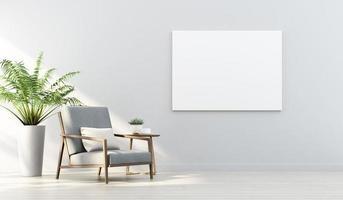 Tolkning 3d av åtlöje upp inredesign för vardagsrum med bildram på den vita väggen foto