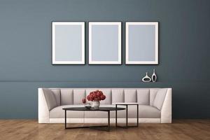 Tolkning 3d av inredesign för vardagsrum med bildramen på väggen foto