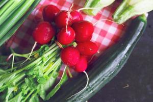 vårgrönsaker-gurka, rädisor, zucchini på svart bakgrund foto